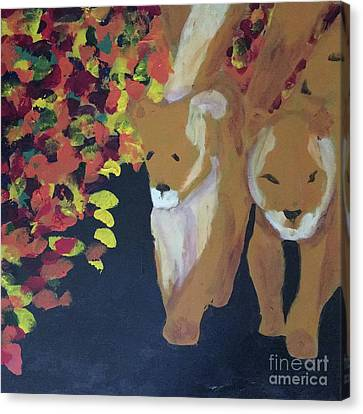 Canvas Print featuring the painting Lioness' Pride 4 Of 6 by Donald J Ryker III