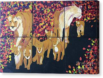 Canvas Print featuring the painting Lioness Pride by Donald J Ryker III