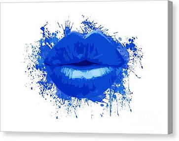 Lips - Deep Blue Watercolour  Canvas Print by Prar Kulasekara