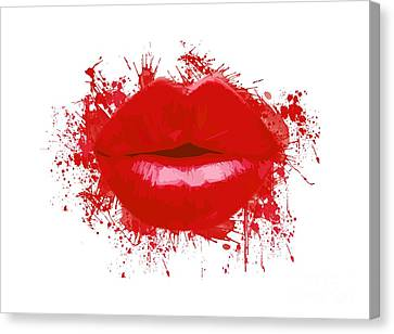 Lips - Light Red Watercolour Canvas Print by Prar Kulasekara