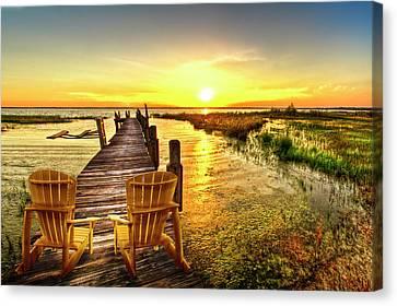 Vintage River Scenes Canvas Print - Liquid Gold At Sunset by Debra and Dave Vanderlaan