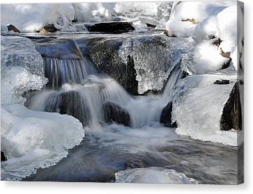 Canvas Print featuring the photograph Winter Waterfall In Maine by Glenn Gordon