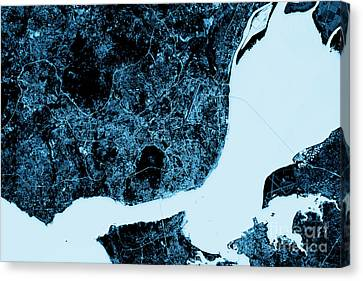 Lisbon Abstract City Map Top View Dark Canvas Print