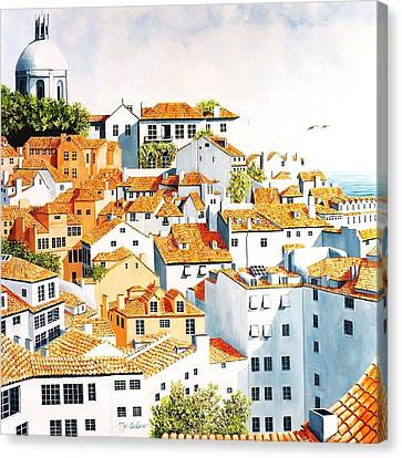 Windows Above Lisbon Canvas Print by Mary Grden's Baywood Gallery