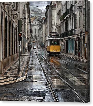 Canvas Print featuring the photograph Lisbon Streets by Jorge Maia