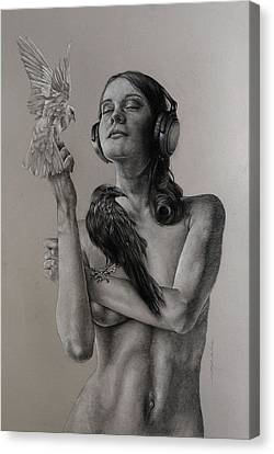 Female Figure Drawings Canvas Print - Listen 11 by Brent Schreiber