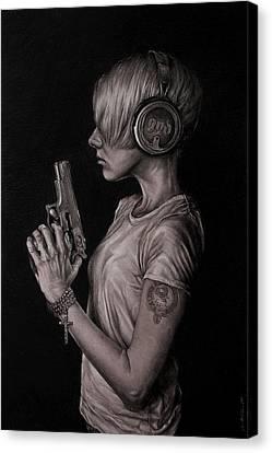 Female Figure Drawings Canvas Print - Listen 18 by Brent Schreiber