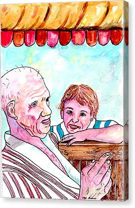 Listening To Grandpas Endless Funny Stories Canvas Print by Philip Bracco