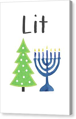 Lit Christmas And Hanukkah- Art By Linda Woods Canvas Print by Linda Woods