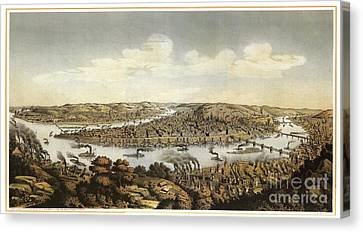 Lithograph Showing Bird's-eye View Of The City Of Pittsburgh Canvas Print