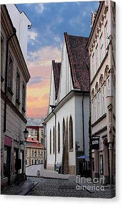 Prague Digital Art Canvas Print - Little Alley In Prague by Pat Dego