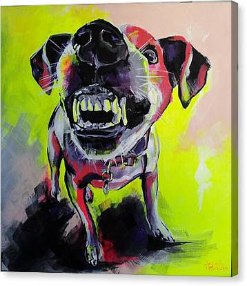 Growling Canvas Print - Little Angry One by Gabriela Holcer
