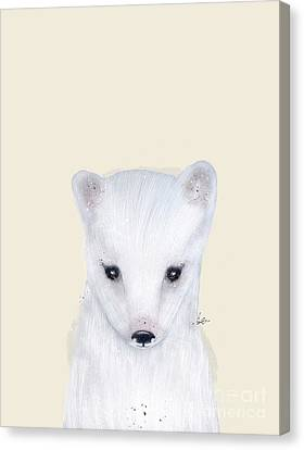 Canvas Print featuring the painting Little Arctic Fox by Bri B