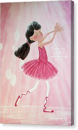 Dance Ballet Roses Canvas Print - Little Ballerina With Bible Verse by Cheryl Rose
