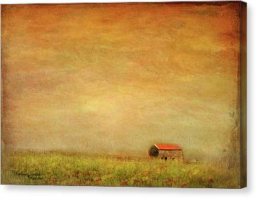 Canvas Print featuring the photograph Little Barn On The Hill by Wallaroo Images