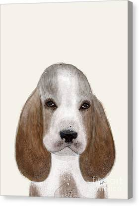 Canvas Print featuring the painting Little Basset Hound by Bri B