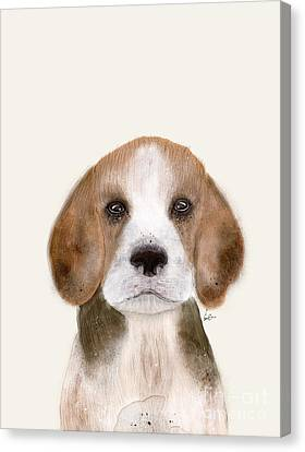 Canvas Print featuring the painting Little Beagle by Bri B