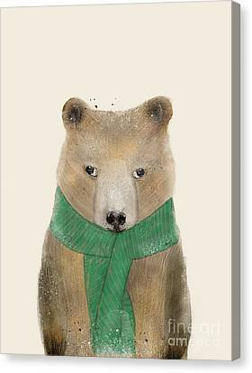 Canvas Print featuring the painting Little Bear Brown by Bri B