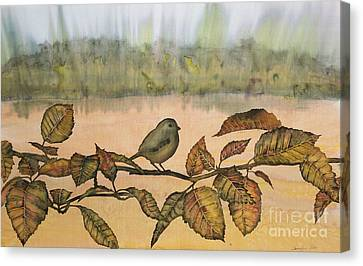 Little Bird On A Branch Canvas Print by Carolyn Doe