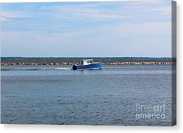 Little Blue Boat Canvas Print by Robert Yaeger