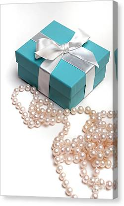 Little Blue Gift Box And Pearls Canvas Print by Amy Cicconi