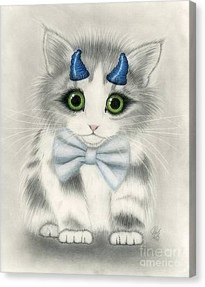 Canvas Print featuring the drawing Little Blue Horns - Devil Kitten by Carrie Hawks
