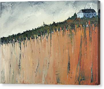 Little Blue House On The Cliff Canvas Print by Carolyn Doe
