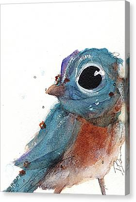 Canvas Print featuring the painting Little Bluebird by Dawn Derman
