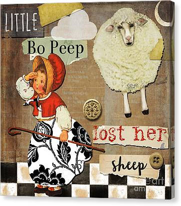 Little Bo Peep Nursery Rhyme Canvas Print by Mindy Sommers