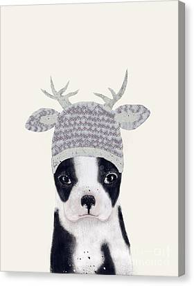 Canvas Print featuring the painting Little Boston Deer by Bri B