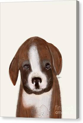 Canvas Print featuring the painting Little Boxer by Bri B
