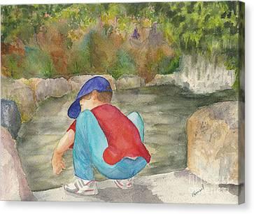 Little Boy At Japanese Garden Canvas Print