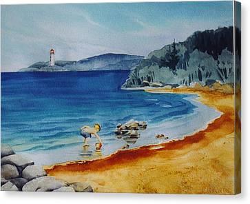 Little-boy-at-the-beach Canvas Print by Nancy Newman