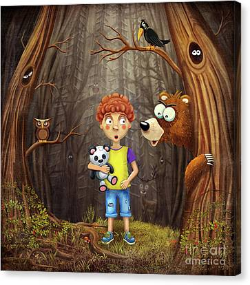 Little Boy In The Forest Canvas Print