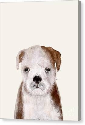 Canvas Print featuring the painting Little Bulldog by Bri B