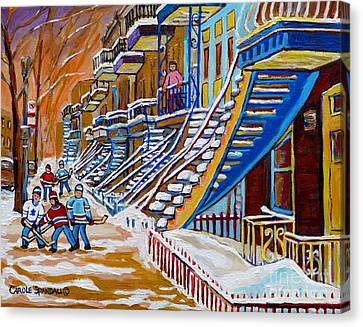 Little Canadian Boys Play Street Hockey Near Winding Yellow Staircase Montreal Winter Scene Art Canvas Print by Carole Spandau