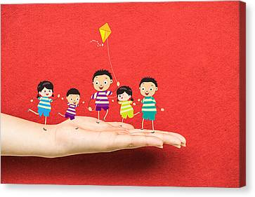 Basketball Collection Canvas Print - Little Children Kites On A Hand by Dai Trinh Huu