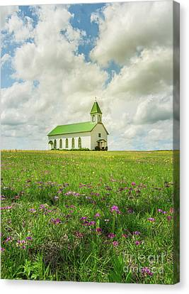 Canvas Print featuring the photograph Little Church On Hill Of Wildflowers by Robert Frederick