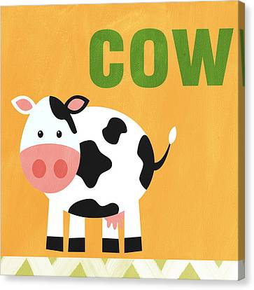 Farm Animal Canvas Print - Little Cow by Linda Woods