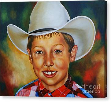 Missing Teeth Canvas Print - Little Cowboy by Theresa Cangelosi