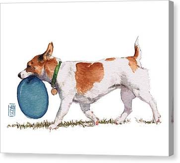 Little Dog With Blue Frisbee Canvas Print by Debra Jones