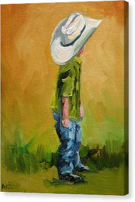 Little Dude Big Hat Canvas Print