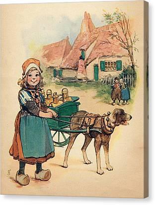 Little Dutch Girl With Milk Wagon Canvas Print