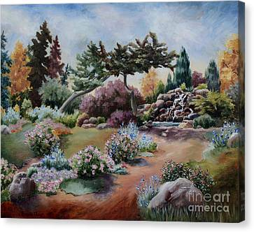 Canvas Print featuring the painting Little Eden by Brenda Thour