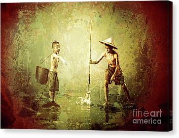 Little Fishermen Canvas Print by KaFra Art