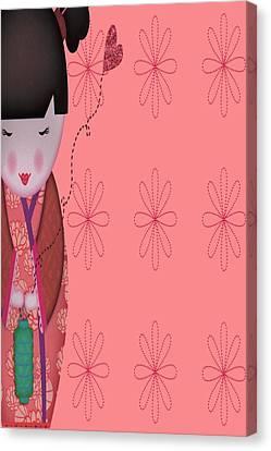 Little Geisha Pink Canvas Print by Jannina Ortiz