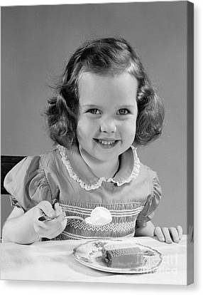 Little Girl Eating Ice Cream, C.1950s Canvas Print by H. Armstrong Roberts/ClassicStock