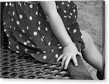 Little Girl Hand Polka Dot Dress Canvas Print by Tracie Kaska