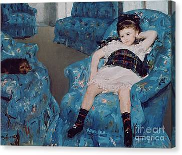 Little Girl In A Blue Armchair Canvas Print by Mary Stevenson Cassatt