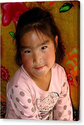 Little Girl Of The Gobi Canvas Print by Diane Height